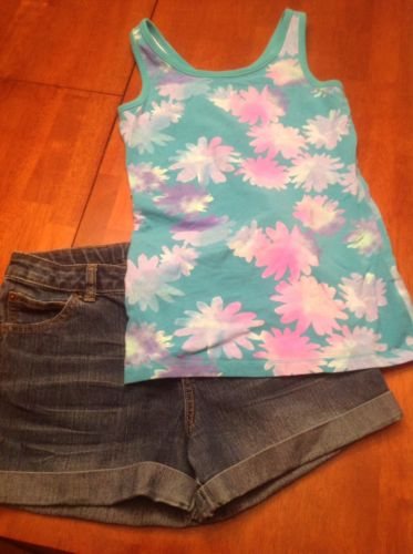 Girls Cherokee Denim Shorts and Floral Tank Top Size XL (14-16)