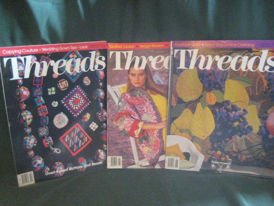 THREADS magazine vtg back issue LOT L 1992 #39 40 41 couture sewing needlework
