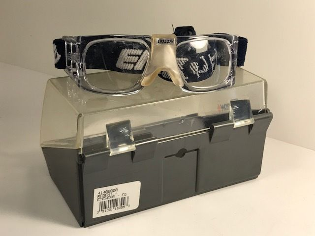 BLUE RACQUETBALL PROTECTIVE GLASSES GEAR GOGGLES IN CASE EKTELON VINTAGE CLEAR