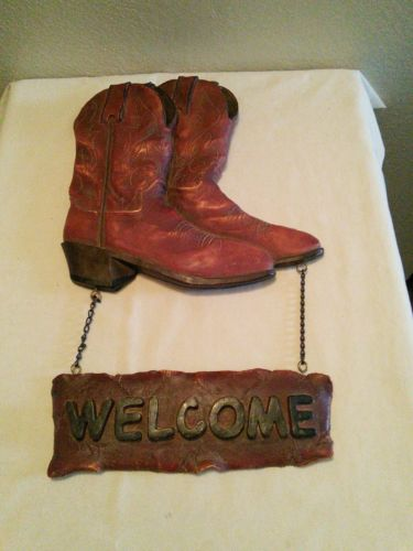 Cowboy Boots Wall Decor Welcome Sign