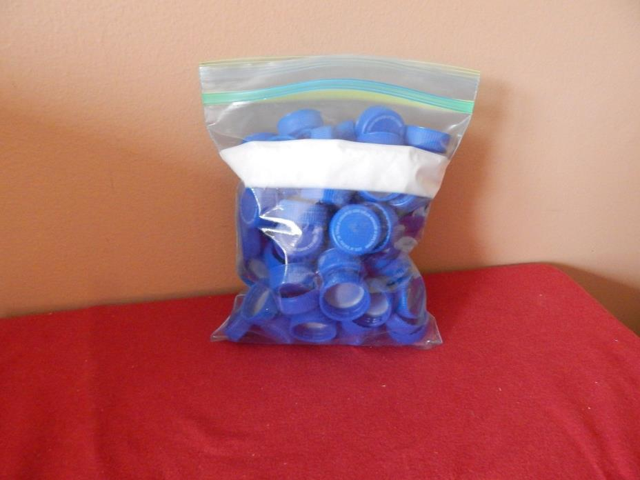 100 Clean Blue Plastic Pepsi Bottle Caps - great for Art & Craft Projects