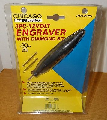Chicago Electric Rotary ENGRAVER with Diamond Bit 3 Pc 12 Volt