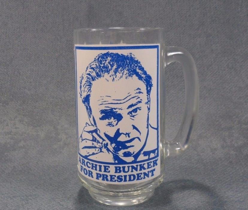 Vintage 1972 Archie Bunker For President Glass Mug Stein