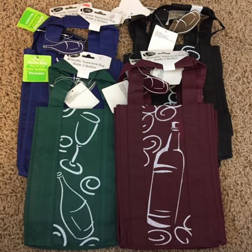 LOT Of 7 Wine Tote Gift Bags, 2 Bottle Bags With Gift Tag NWT