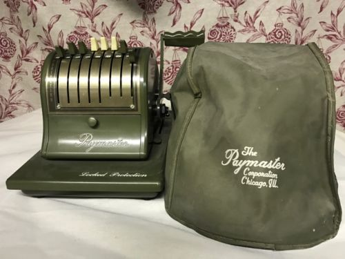Vintage Working Paymaster Emboss Checks W/ Cover S 1000 Olive Green MSRP $154.50