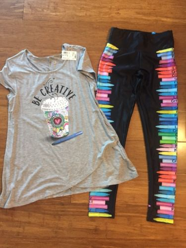 NWT Justice Be Creative Tunic Top And Marker Leggings 10/12