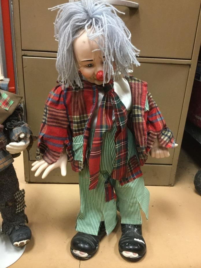 Large Vintage Porcelain Hobo Clown Hitchhiker Doll Approx 18 inches tall