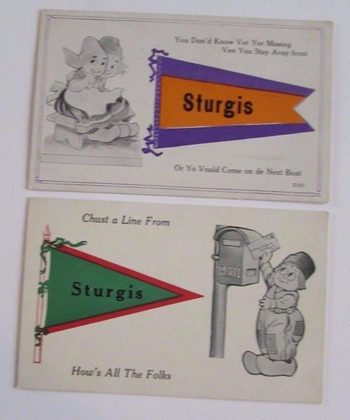 2 Antique Sturgis Michigan Postcards Greetings Pennant