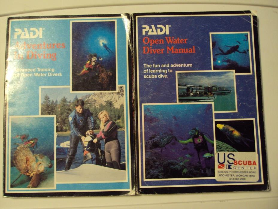 Lot of 2 PADI Open Water Diver Manual Adventures in Diving Advanced training