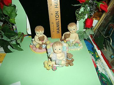 3 Adorable miniture Baby figurines with teddy bear and toys- set of 3