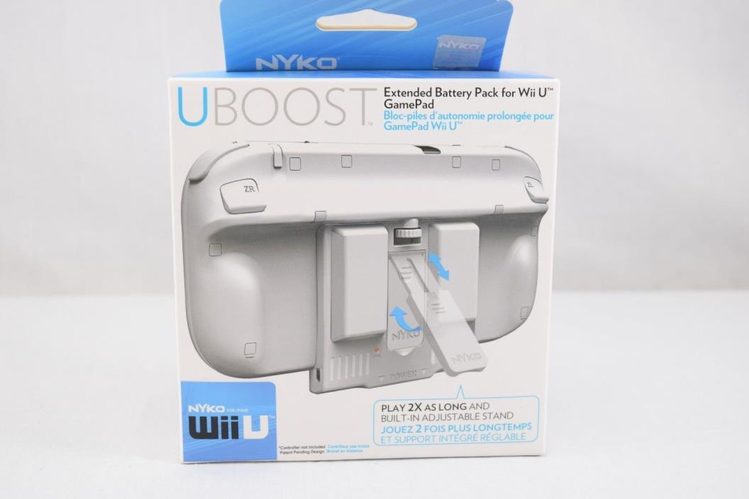 Nyko Uboost Extended Battery Pack Nintendo Wii U Game Pad White.