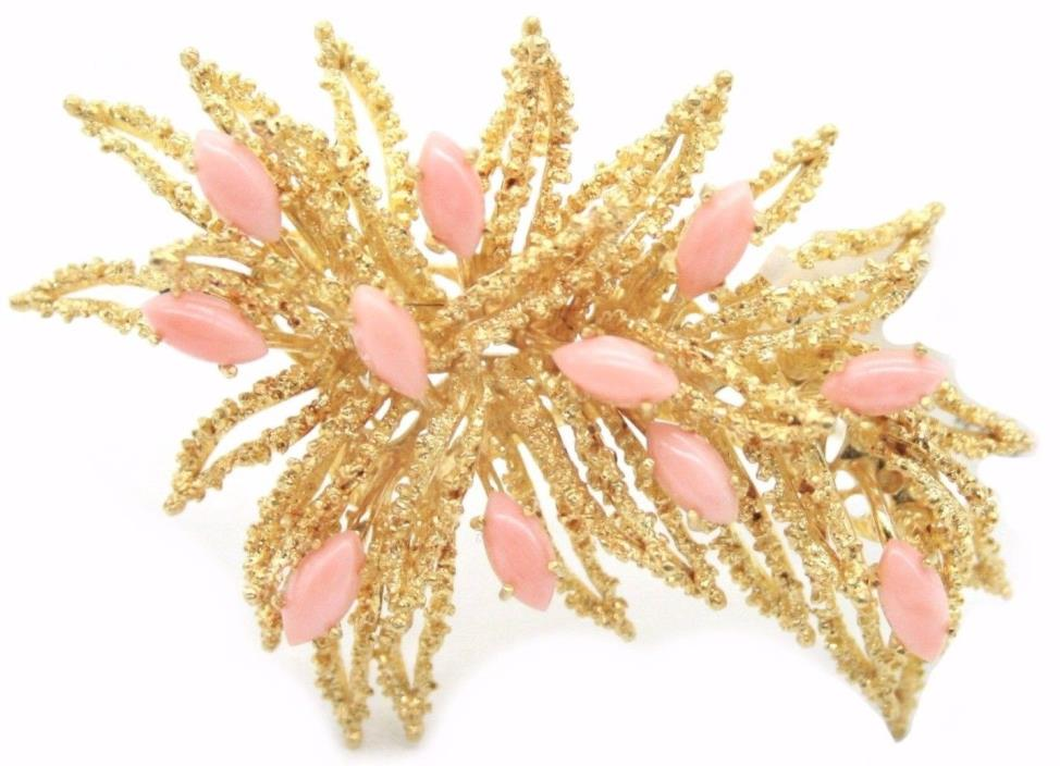 18K YELLOW GOLD ESTATE BROOCH WITH PINK CORALS.MADE IN ITALY. 24.4GRAM