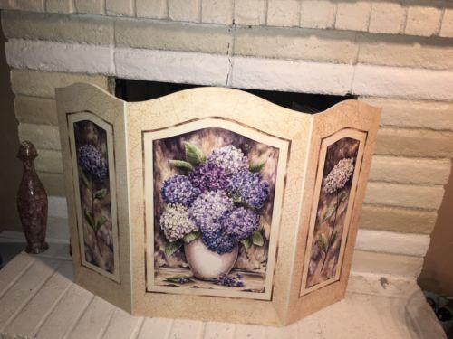 Stupell Industries Shabby Elegance Hydrangea 3 Panel Fireplace Screen