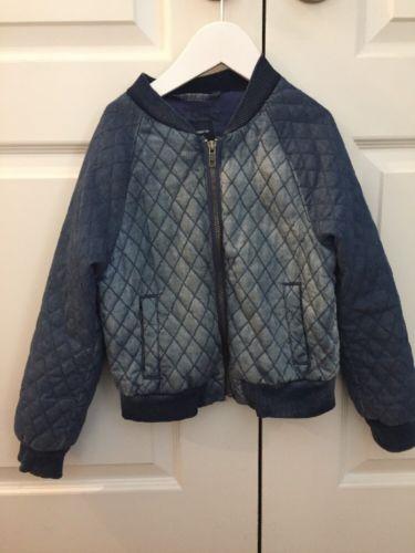 Gap Girls Blue Denim Jeans Quilted Bomber Jacket Size S!