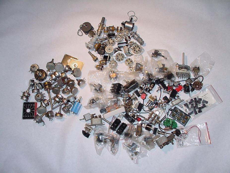 ELECTRONIC COMPONENT LOT PART REPAIR POTENTIONMETER , SWITCHES, TUBE SOCKET