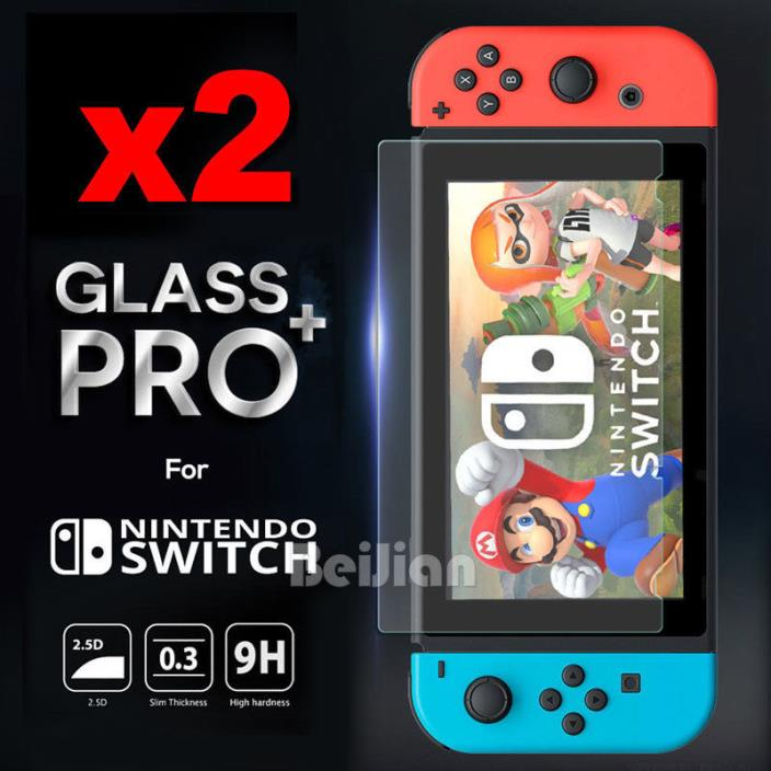 2x Ultra Clear Tempered Glass Screen Protector Guard for Nintendo Switch Console