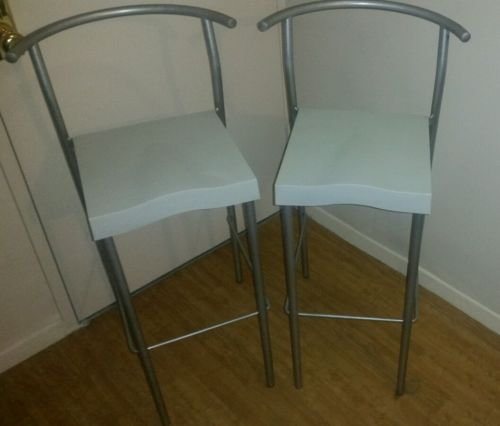 Kartell Hi-Glob barstool chairs light gray pair of 2