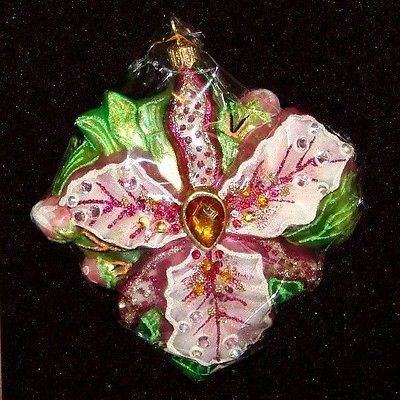 Elegant Jay Strongwater Colorful ORCHID FLOWER ORNAMENT ~ NEW in Box