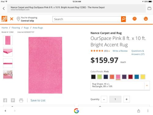 8 X 10 Unused Pink Bound Rug Perfect For Girls Room ??????