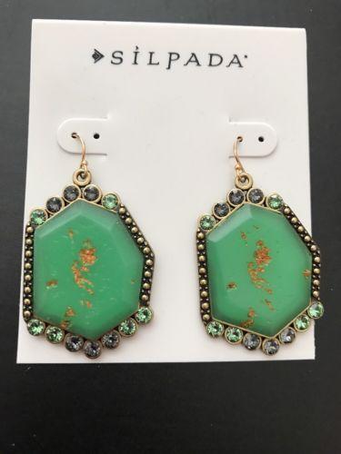 Silpada Botanical Earrings brass, Swarovski Crystal & Green resin KRW0076 WOW!