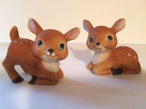 VINTAGE  Home Interiors Figurine 2 Deer Figurines #1473   FREE SHIPPING