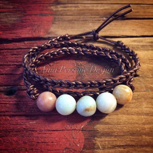 Handmade Brown Leather Bracelet Amazonite Crystal Gemstone Boho