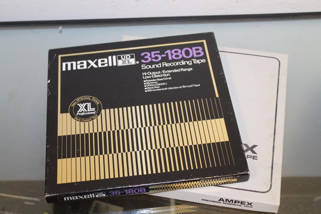 Lot of 2 Metal Maxell UD XL 35-180B Sound Recording Tape Hi-Output/Extend Range