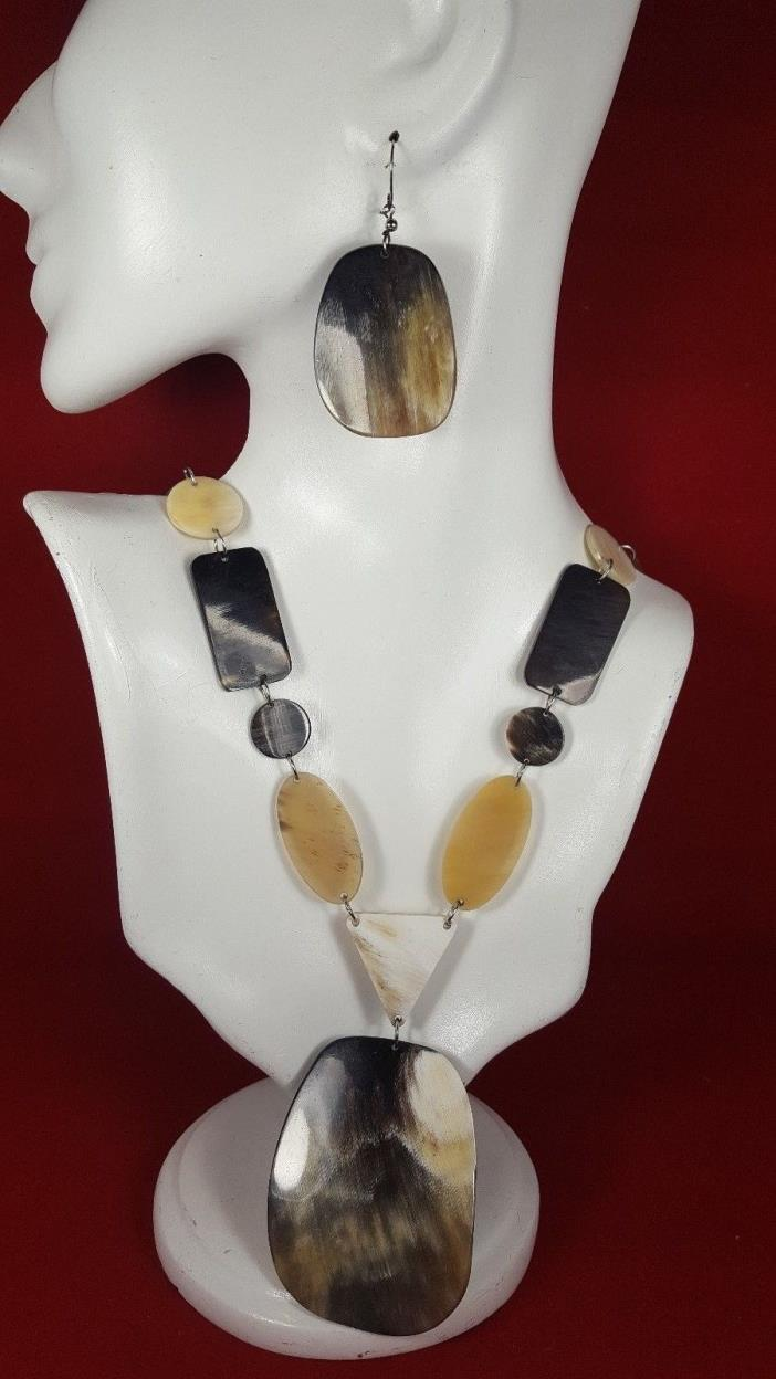 BULL'S HORN  NECKLACE SET HANDCRAFTED JEWELRY PERU