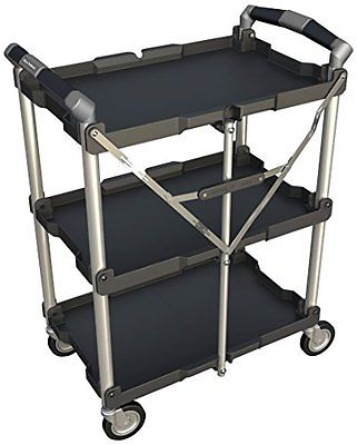 3 Levels Collapsible Service Utility Cart Mobile Transportation Storage Securely