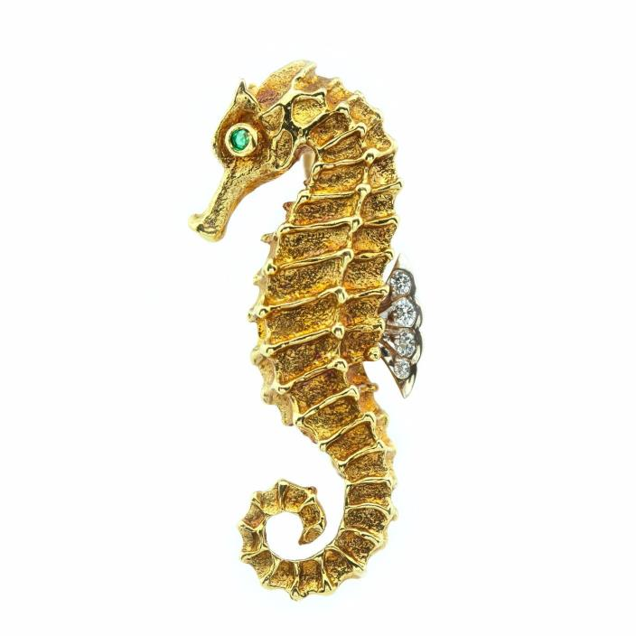 TIFFANY & CO 18K Seahorse Brooch with Diamonds & emerald (15848)