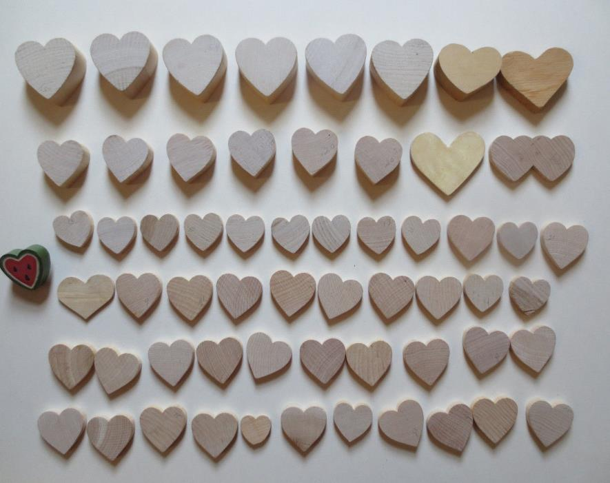 Lot 60  Assorted Unfinished Wooden Heart Cutouts for Crafts