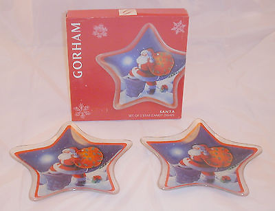 New Gorham Crystal Santa 2 Star Holiday Plates Christmas Holiday Candy Mint Dish