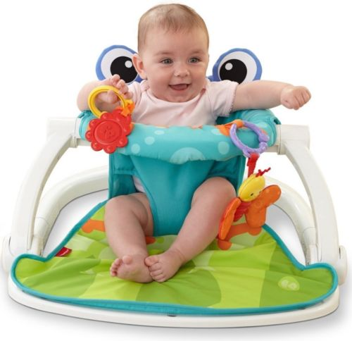 Fisher-Price Multi-Color Froggy Sit-Me-Up Floor Seat 2 Linkable Toys Foldable