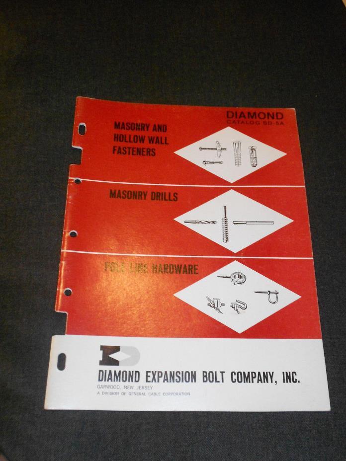 VINTAGE DIAMOND EXPANSION BOLT COMPANY INC INDUSTRIAL PARTS CATALOG SD-5A