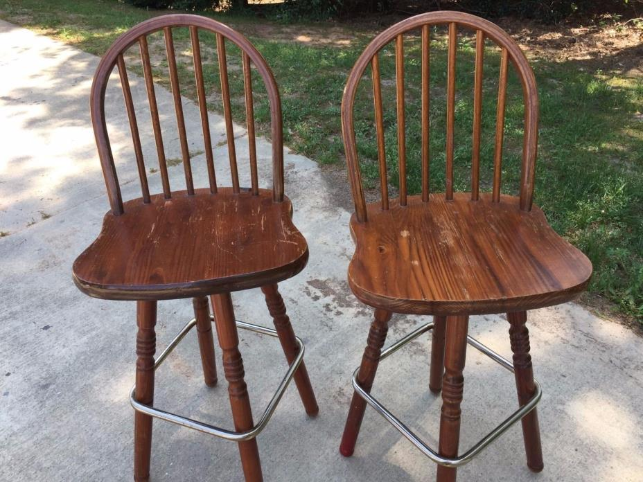 SOLID WOOD SWIVEL PUB BAR STOOL CHAIR SET OF 2, TWO DINING KITCHEN STOOLS/CHAIRS