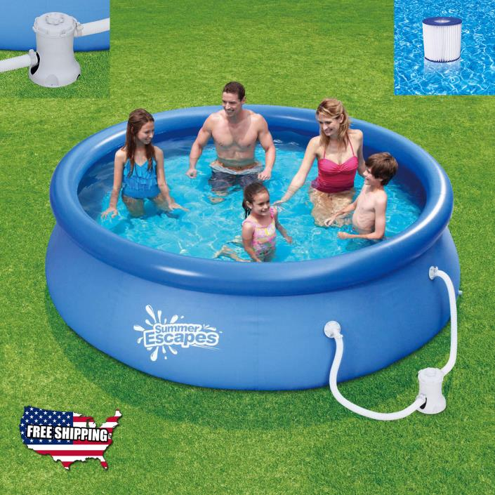 Swimming Pool Above Ground 10 x 30 Quick Set with Filter Pump Outdoor Family New
