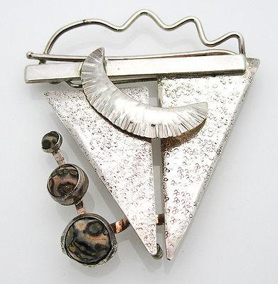 Modernist Designer 925 Sterling Silver Agate Gemstone Pin Brooch 21.4g DS-6935