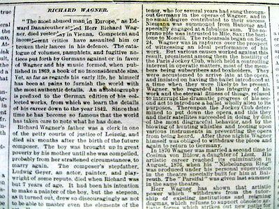 <1883 newspaper Opera COMPOSER Conductor  RICHARD WAGNER DEAD Tristan Isolde