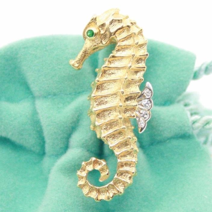 Tiffany & Co 18K Gold & Platinum Sea Horse Brooch with an Emerald & Diamonds.