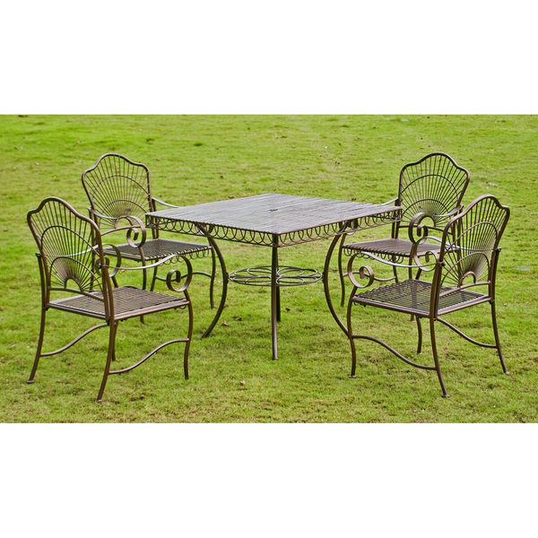 Patio Furniture Sets Clearance Outdoor 5 Piece Dining Metal Table Lawn Iron Yard