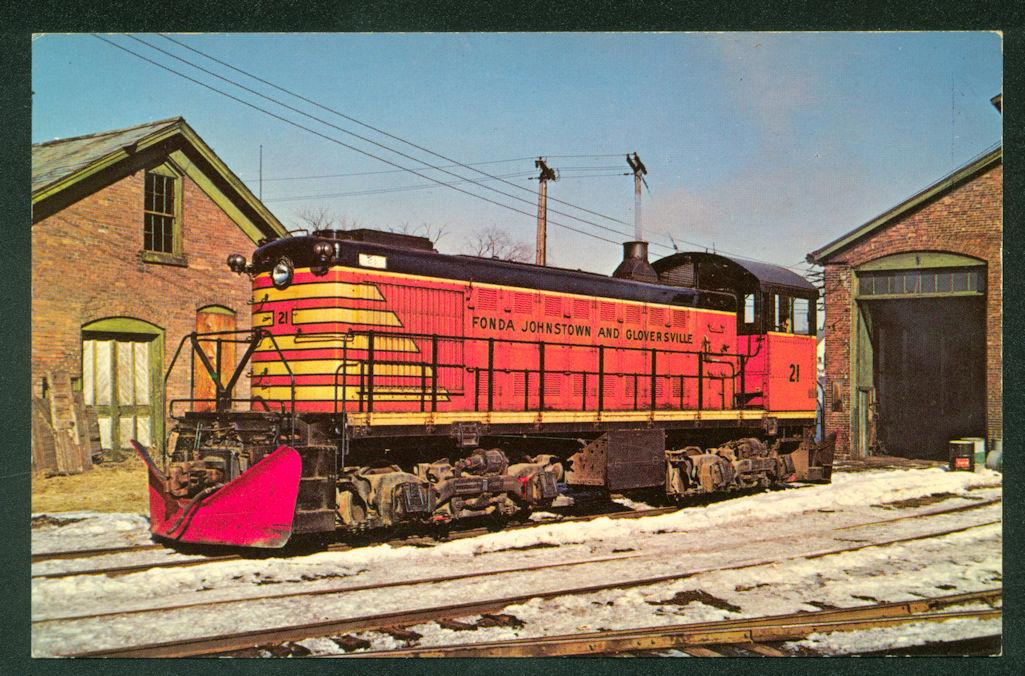 Fonda Johnstown Gloverville Alco Switcher SNOW PLOW New York Railroad Postcard