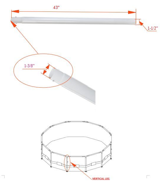 (1) Vertical Leg Pole V Shape Spring Parts Pool Metal Frame 15'x48