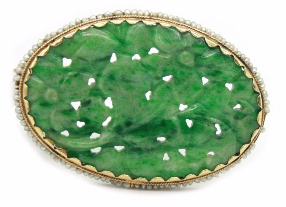14K Yellow Gold Jade Brooch with Seed Pearls.