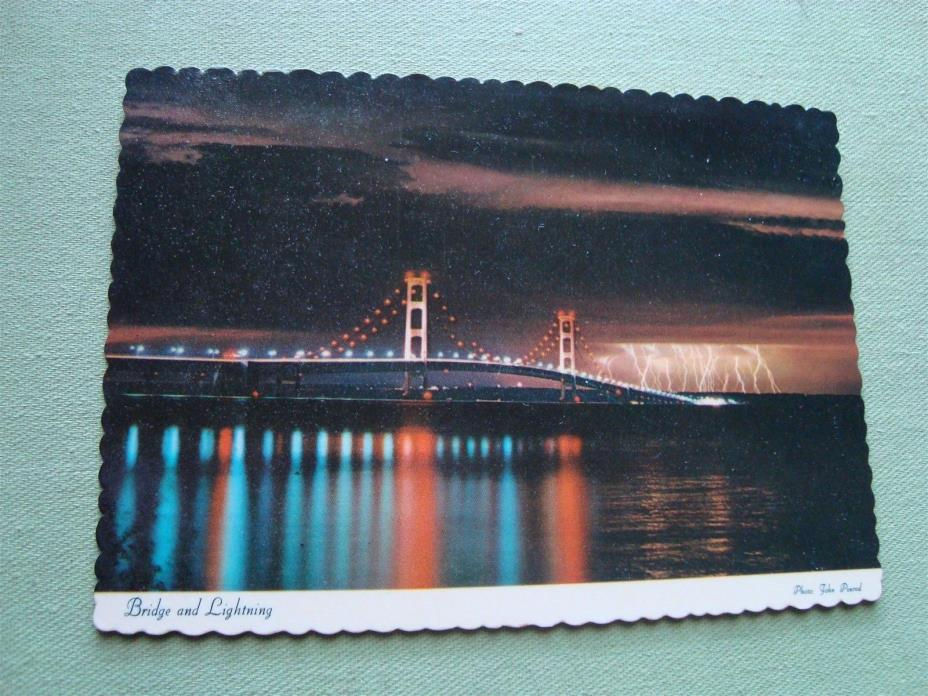 VINTAGE BRIDGE AND LIGHTNING MACKINAC BRIDGE MICHIGAN POSTCARD