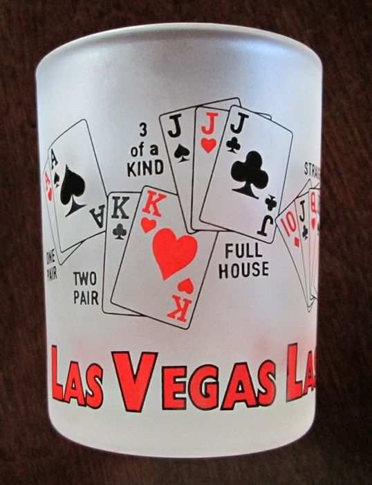 LAS VEGAS SHOT GLASS FROSTED -SHOWING CARD HANDS FULL HOUSE ROYAL FLUSH STRAIGHT