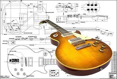 Full-Scale Plan of Gibson Les Paul '59 Electric Guitar