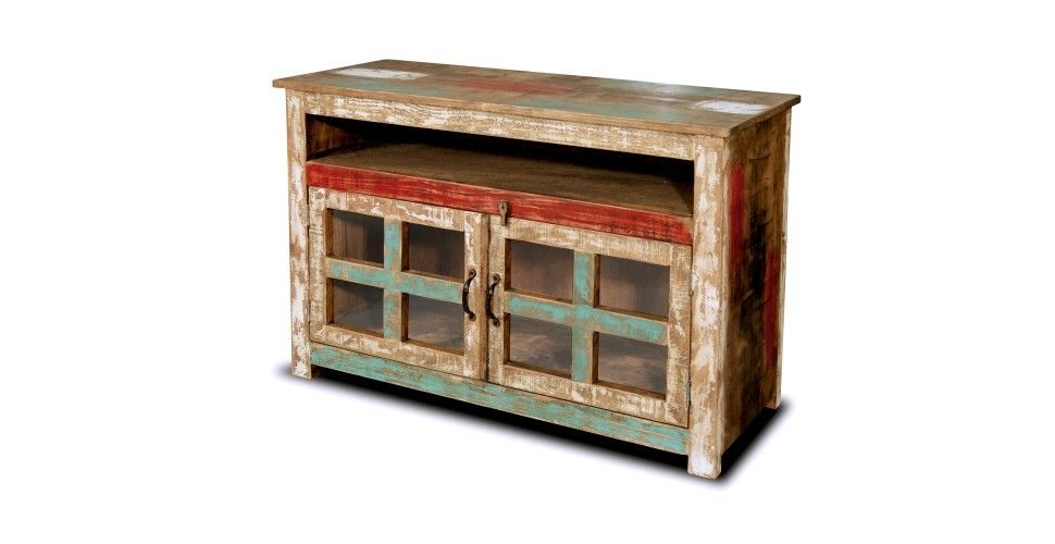 Rustic Solid Wood 65 inches Multi Color TV stand Media Console with glass doors