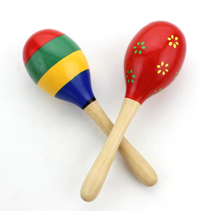 Zicome Kid's Wooden Maracas Rattle Shakers Musical Educational Toys, Set