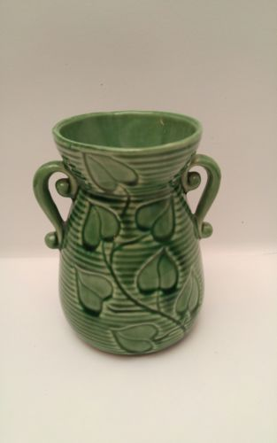 Vintage Shawnee Pottery Green Double Handle Ivy Vase Planter #805