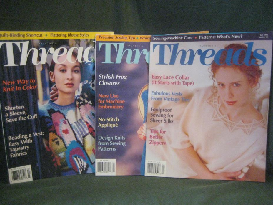 THREADS magazine vtg 1995 back issue LOT R #57 58 59 couture sewing needlework